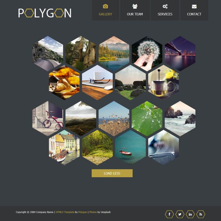 Polygon is free HTML5 mobile template including responsive lightbox gallery, about page, services page with hexagon icon boxes, contact form and maps.