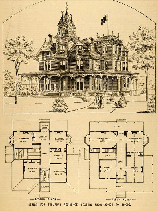 Victorian house plan, circa 1879. Built for $6,000. ............. Yes, Please!