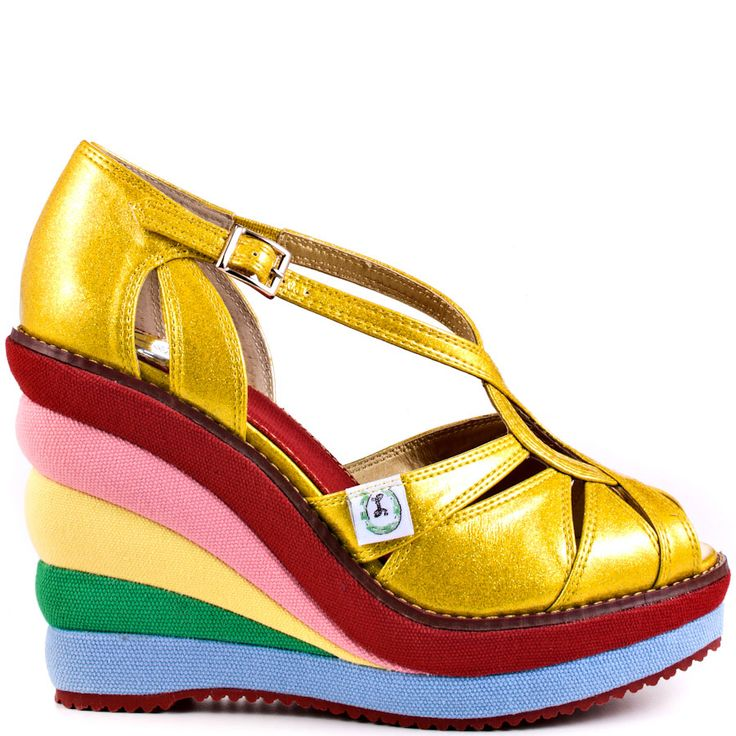 """Miss L Fire """"Chica Chica Boom"""" in gold, rainbow peep-toe platform, $119.99"""