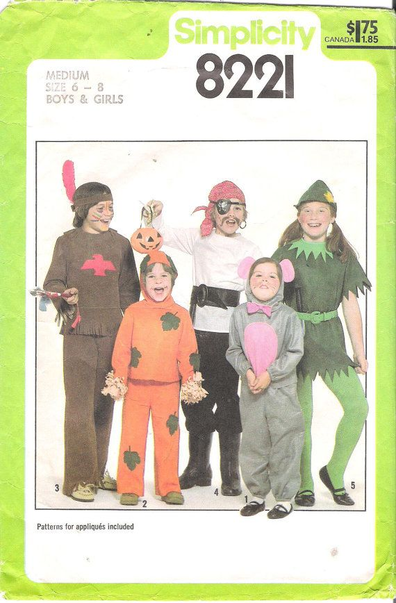 vtg simplicity halloween costume patterns 8221 kids l 10 12 indian pirate elf - Halloween Costume Patterns For Kids