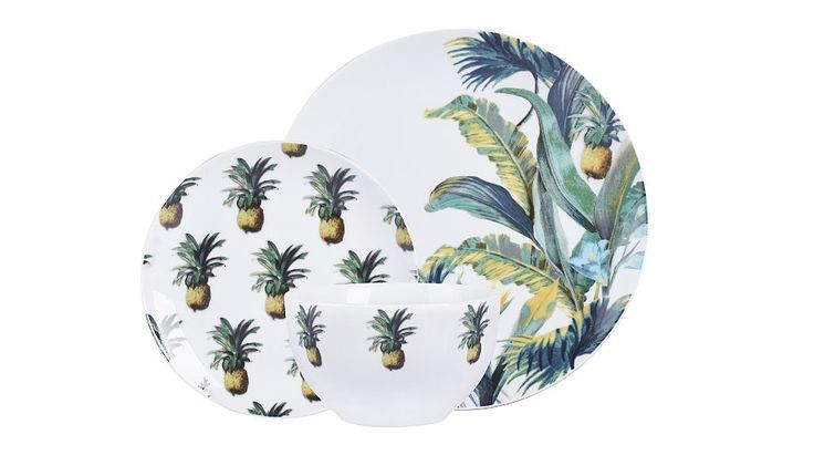 Create a tropical-themed table setting with this pineapple print, porcelain dinner set from George Home. It includes four dinner plates, four side plates and...