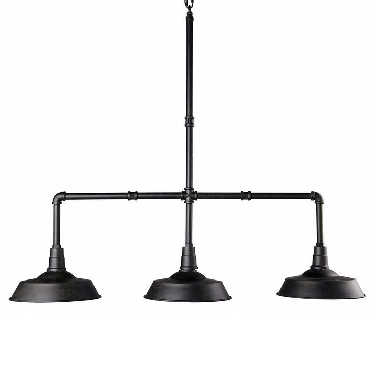 Hängeleuchte mit 3 Lampen aus schwarzem Metall L.104cm | Maisons du Monde