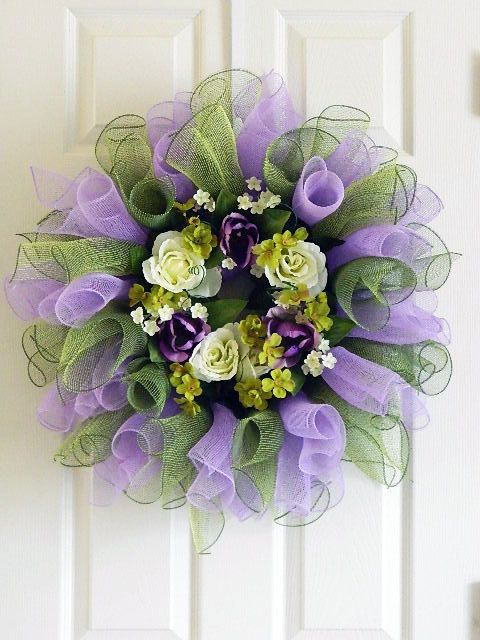 Purple and Green Mesh Wreath with Roses and Tulips by BellaFrog, $68.00