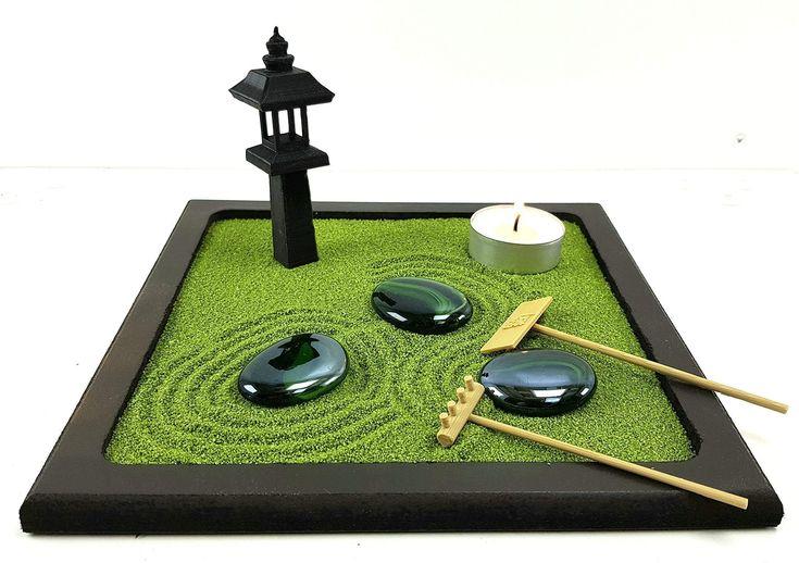 Bonsekia Piccolo Giardino Zen Da Tavolo In Legno 20x20 Cm Con