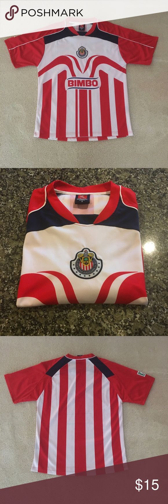Authentic Club Deportivo Guadalajara Soccer Jersey 100% polyester, club logo stitched in, excellent condition, no flaws. Shirts Tees - Short Sleeve