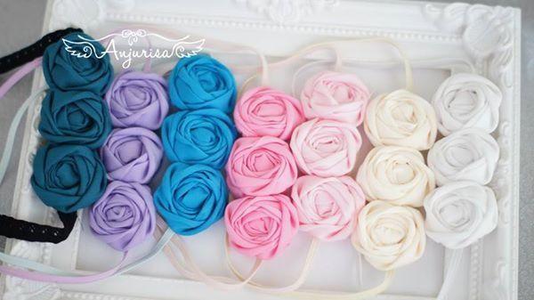 One of my favorite fabric rosette rose rosebud baby headband flower
