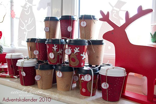 coffee to go adventskalender xmas craft pinterest advent calendar love this and paper cups. Black Bedroom Furniture Sets. Home Design Ideas