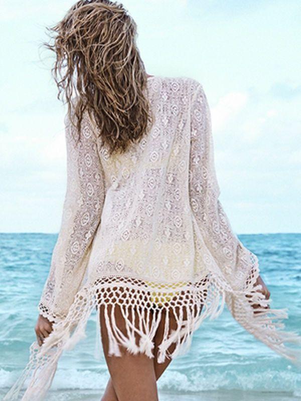 Women's Sexy Crochet Hollow Out Cover-ups Dress