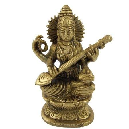 Amazon.com: ArtOnline Goddess Saraswati Hinduism Worship Art Sculpture Metal Brass: Home & Kitchen