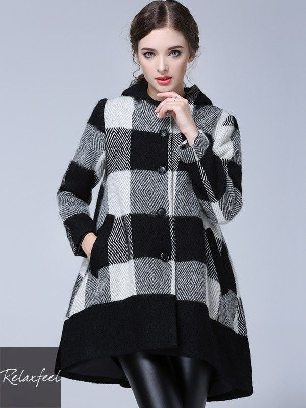 Relaxfeel Women's Black Plaid Pullover Woolen Coat - New In