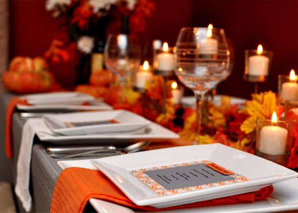 orange/gray thanksgiving tablescape