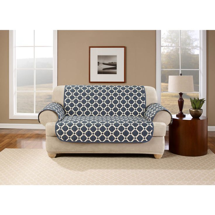 USA Belle Maison Peyton Reversible Loveseat Protector (Taupe), Neutral (Geometric)