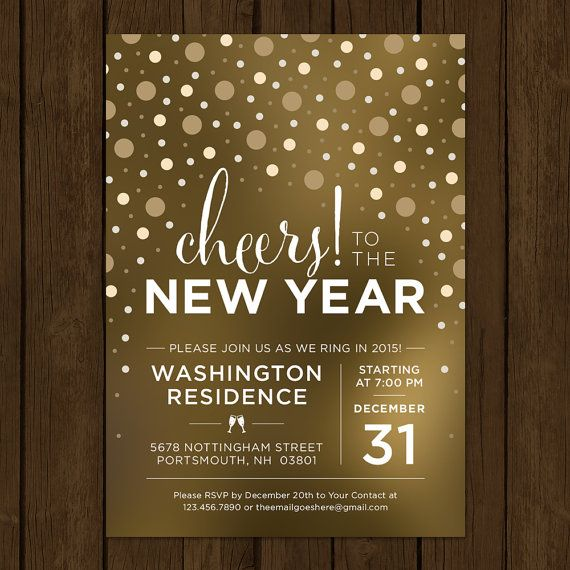 Custom New Years Eve Invitation. Cheers to the by KateBerryDesign