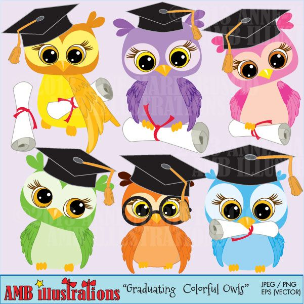 Graduating Owls - cute clipart for scrapbooking, invitations and more.