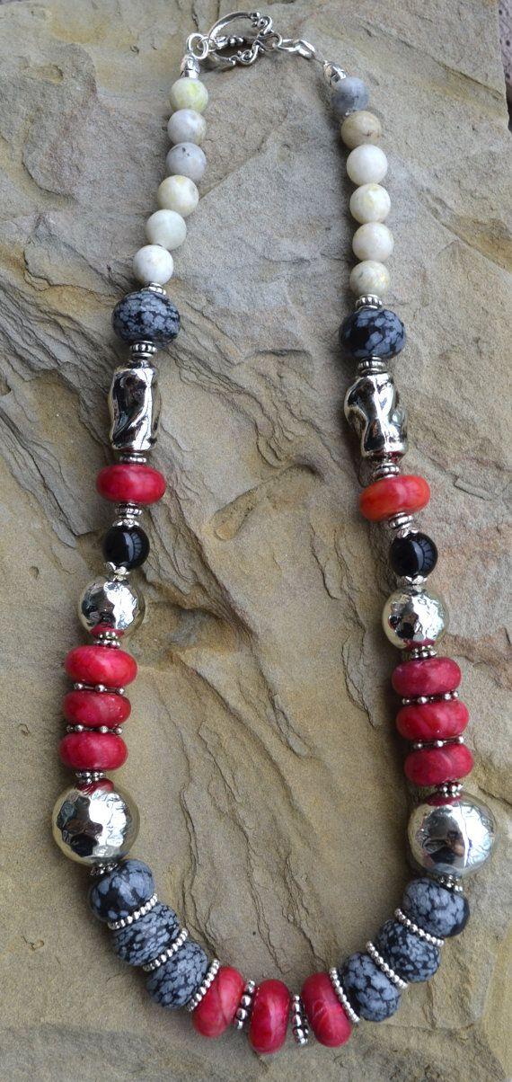 Jade Necklace, Jasper Necklace, Silver, Beaded Necklace, Gemstone Beaded…