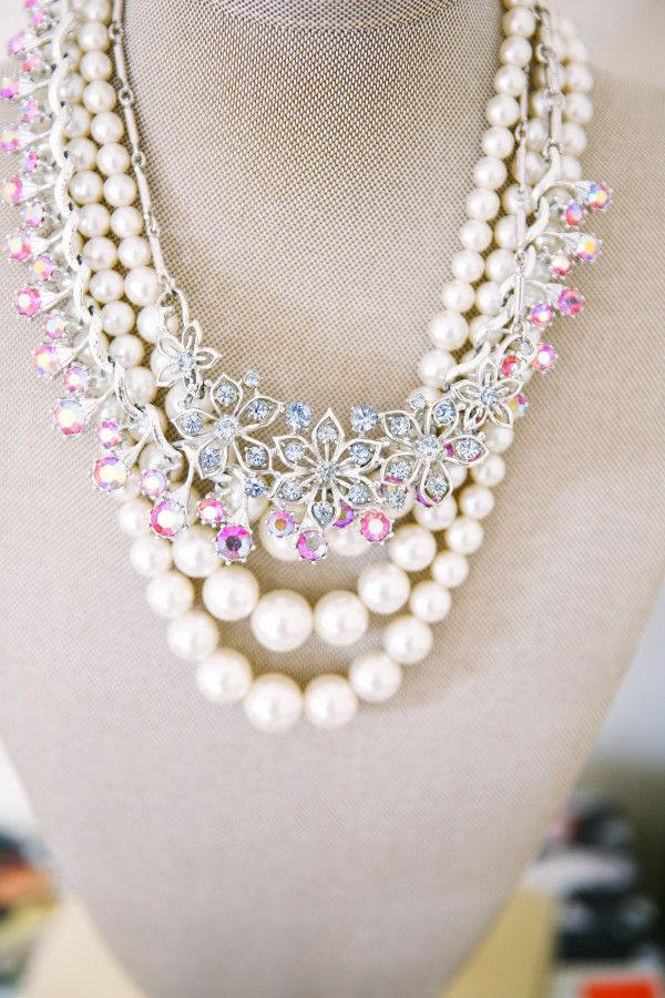 Pearls and statement necklace: http://www.stylemepretty.com/living/2017/01/02/5-chic-ways-to-organize-your-jewels/ Photography: Andrea Posadas - http://www.andreaposadas.com/