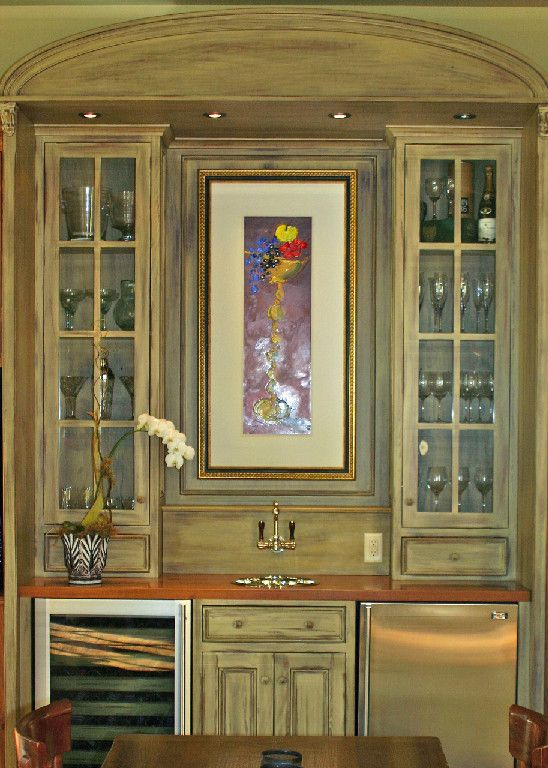 Cool and tropical wet bar area - Dixmude faucet and Rhone metal sink in Polished Nickel.