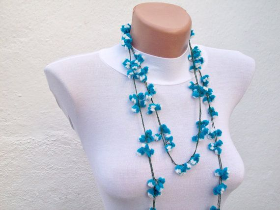 Handmade Authentic crochet Oya Bracelet Necklace Blue  by nurlu, $16.00