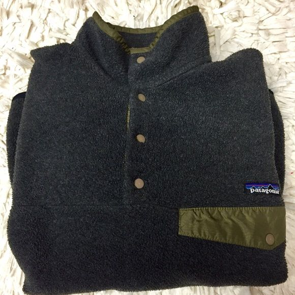 Patagonia Synchilla Snap Pullover! Gray and olive! Gray and olive snap pullover! In great condition, elbows a little worn! Men's size small fit women's size M. Very comfortable! Patagonia Other