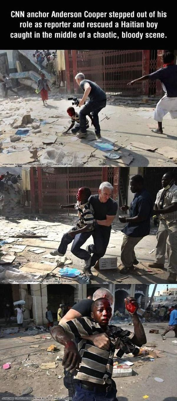 Anderson Cooper Restore Your Faith In Humanity this guy is amazing I'm sure I would do that too