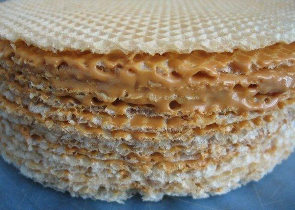Фото к рецепту: Вафельный торт со сгущенкой и шоколадом