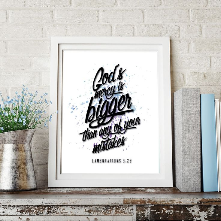 Bible Quotes Inspirational Poster Lamentations 3:22 Motivational Typography Print Home Decor