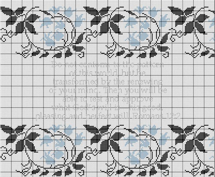 Holy Scripture Cross Stitch Pattern Romans 12:2 Ukrainian Harebell Motif