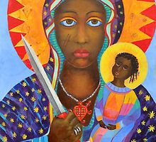 Black Madonna Poland. Black Madonna from Poland. Black Virgin painting or Erzulie Dantor portrait, Haitian and New Orleans voodoo art by tanabe