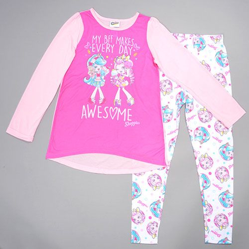 Girls Shopkin 2pc. Long Sleeve BFF Pajama Set 4, Pink/White: Girls Shopkins pajama set includes a long sleeve color block top with a BFF…