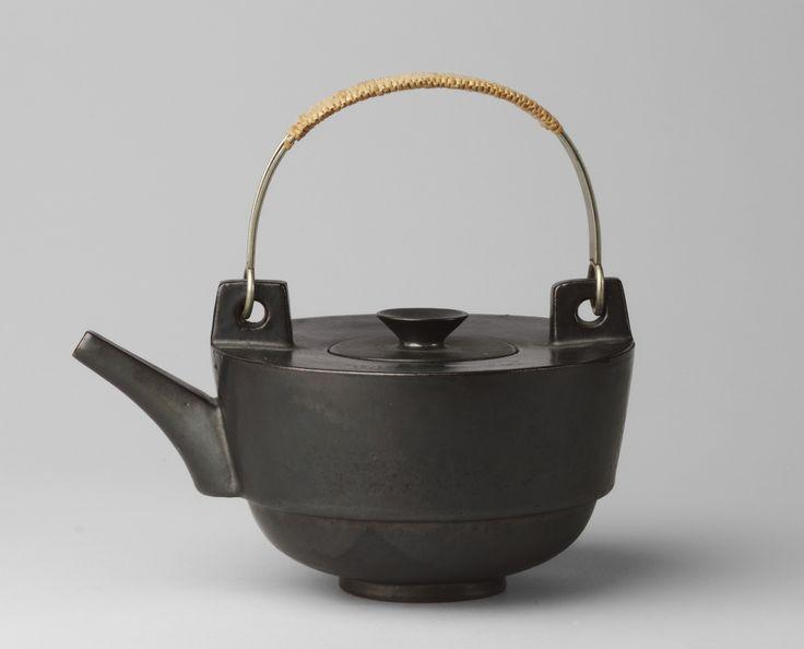"Theodor Bogler. Teapot. 1923. Bauhaus Ceramic Workshops, Weimar, Germany. Metallic-glazed earthenware and raffia. 7 5/8 x 8 1/8"" (19.4 x 20.6 cm). Estée and Joseph Lauder Design Fund. 455.1970.a-b. Architecture and Design"