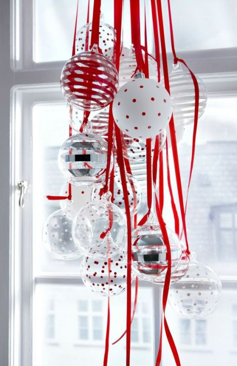 Ornaments gathered with ribbons...lots of other great decorating ideas