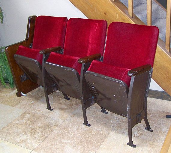 heywood wakefield chairs rare theater seats 1940s to mid century 3 plus signed red mohair