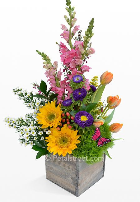 spring floral arrangements | Spring Garden Flowers Arranged in a Box - Pt. Pleasant, NJ Florist ...
