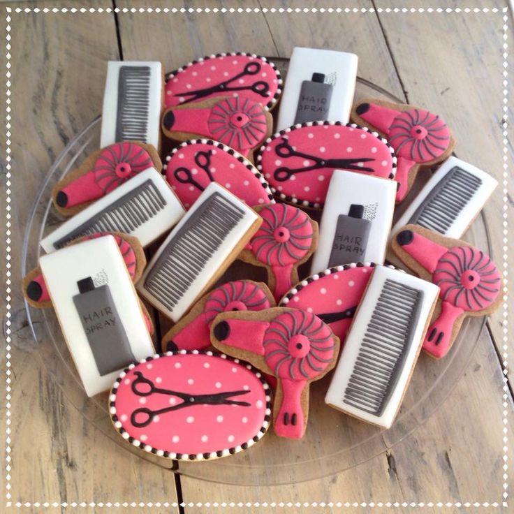 Hairdresser cookies Scissors, hairspray, hairdryer cookies