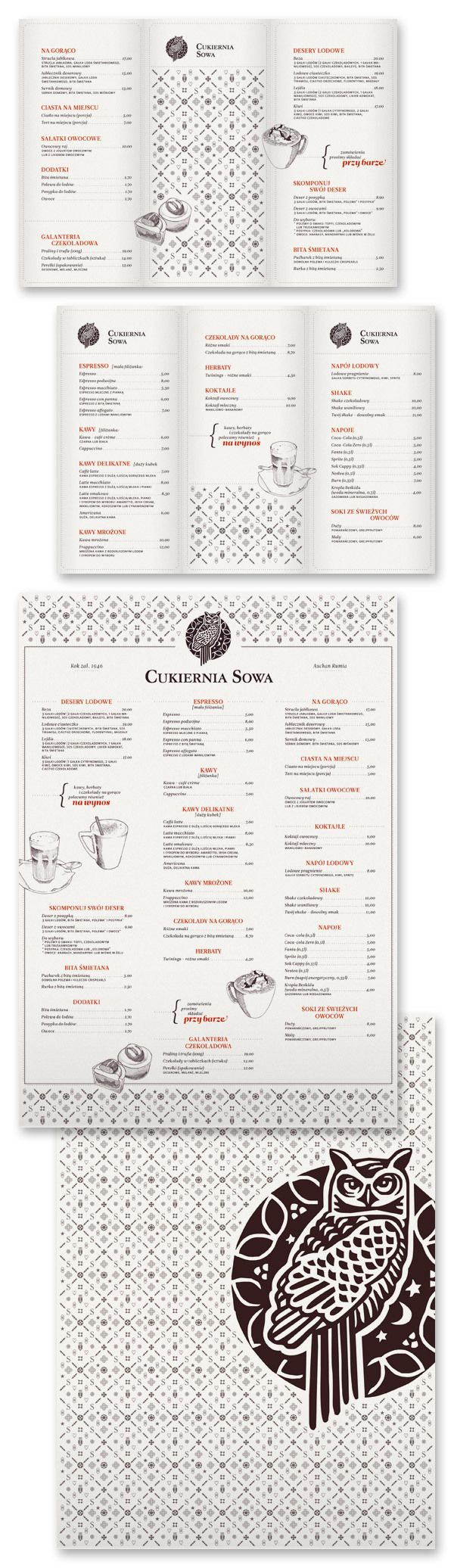 I like the backside of this menu, logo & pattern, with continuing pattern on the front.