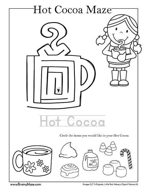 Winter & Christmas Mazes and Activity Pages. Preschool and