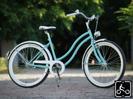 Egyedi Női Cruiser Kerékpár 1sp - Türkiz-Fehér