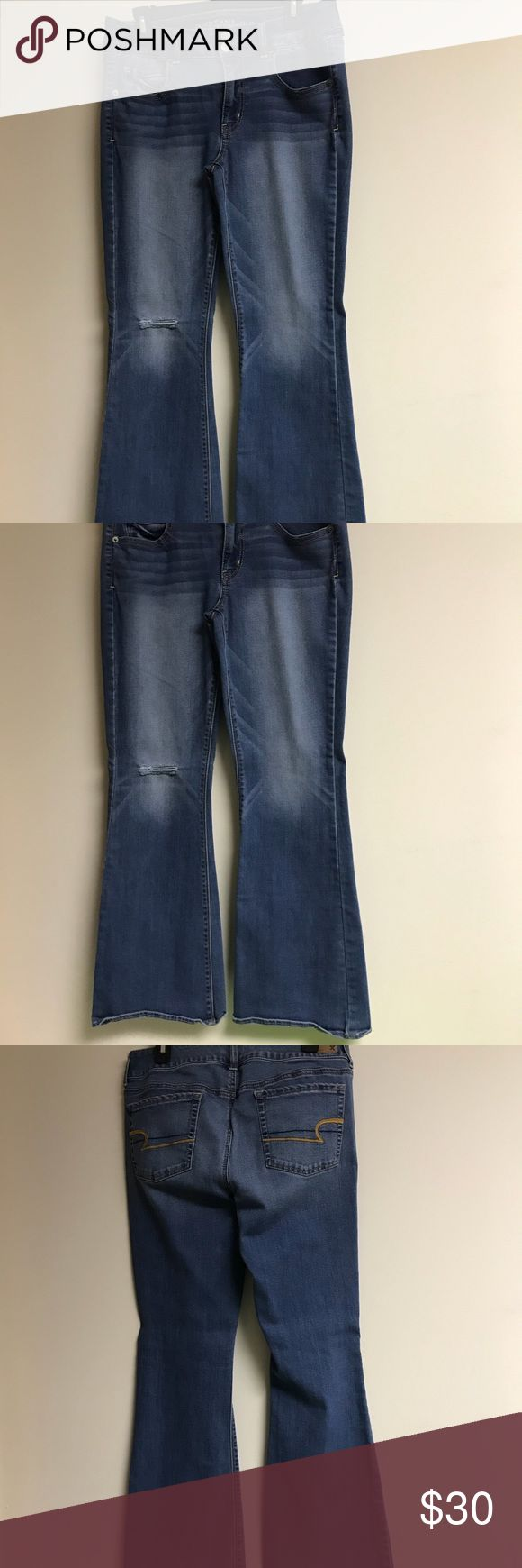 American Eagle Distressed Artist 12 Short Jeans Brand new without tags. Washed but never worn! Factory rip & distressing. Excellent condition. No holes, no stains, no flaws of any kind. Check my other items for bundles to save on shipping! Make a bundle of several items and only pay shipping once! Comes from a smoke-free home. I ship all items within 24 hours! I'll be listing over 100+ items today, so keep checking back for new listings! American Eagle Outfitters Jeans Flare & Wide Leg