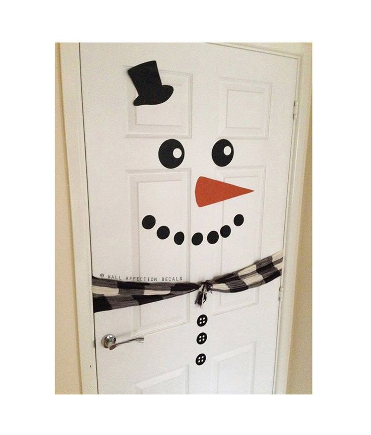 Snowman Door // Christmas Door Decal // Xmas Decoration // Snowman Fridge // *scarf not included* by WallAffection on Etsy https://www.etsy.com/listing/210522027/snowman-door-christmas-door-decal-xmas