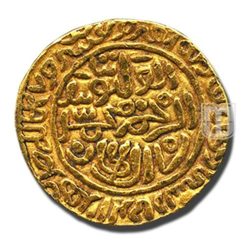 DINAR | coins during Delhi Sultan - Tughluq Dynasty | Ruler / Authority : Muhammad Bin Tughluq (Struck in his own name) | Denomination : Dinar | Metal :	Gold | Weight (gm)	: 12.8 | Shape : Round | Types/Series	: Al Wathiq | Calendar System	: AH (Anno Hijri) | Issued Year :	728 | Minting Technique	: Die struck | Mint : Shahr Sultanpur | Obverse Description :  Al Wathiq Bi Tayid Al Rahman Muhmmad Shah Al Sultan, within circle, date and mint name in margin outside the circle
