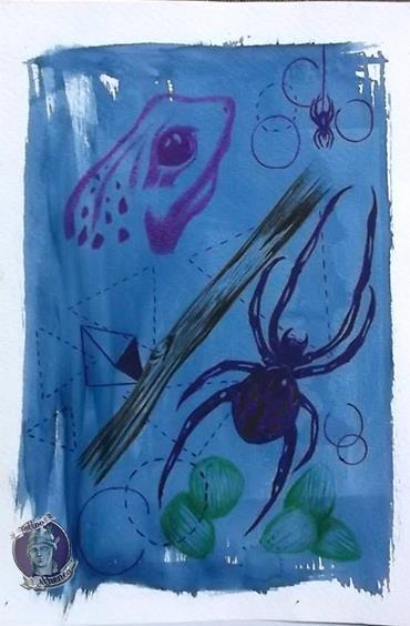 Dibujo a lapicero de colores, sobre un intento fallido de cianotipia. 17.5*25 cm. Tattoo Athenea