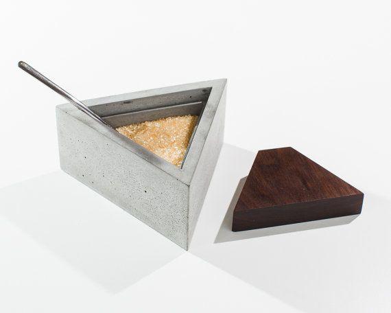 Triangle Concrete Sugar Box with Dark American Walnut Wood Lid/ Sugar #concrete #design
