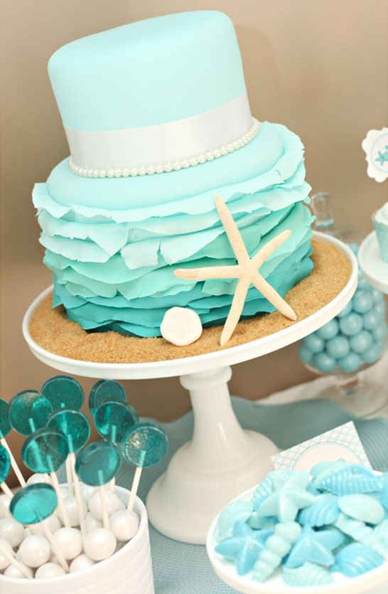 Bottom part of this cake with the starfish, sand and different desserts underneath!