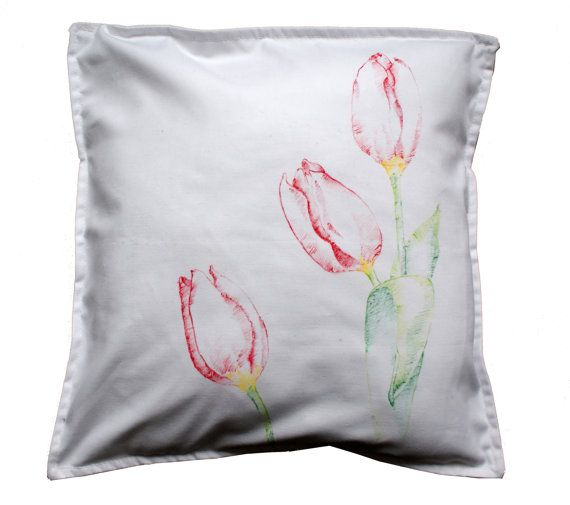 Pillowcase flower tullip pattern handpainted by KropkaDesign