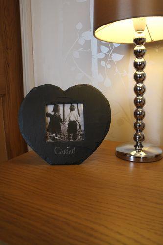 Heart shaped Welsh Slate 'Cariad' Frame