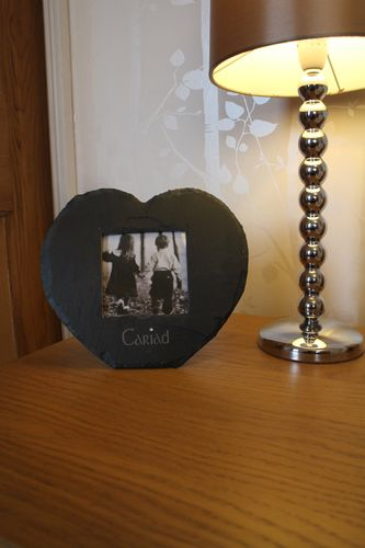 Heart shaped Welsh Slate 'Cariad' Frame