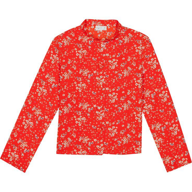 chemise elena orange chemise manches longues en crêpe imprimé avec fermeture par boutons recouverts sous petit col droit.