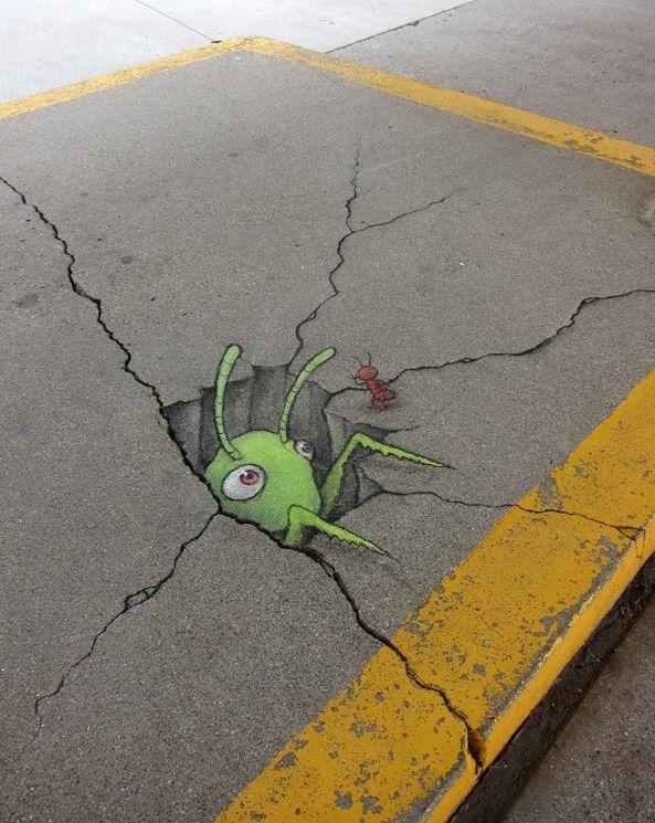 David Zinn chalk street art