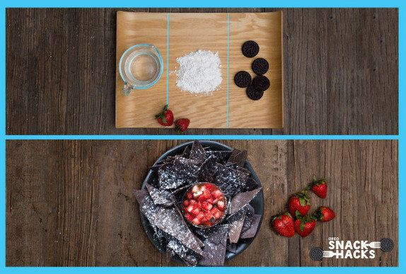 Oreo Tortilla Chips (served with a macerated strawberry salsa) | Oreo Snack Hacks http://oreo.tumblr.com/post/82192266487/we-changed-the-snacking-game-by-well-changing