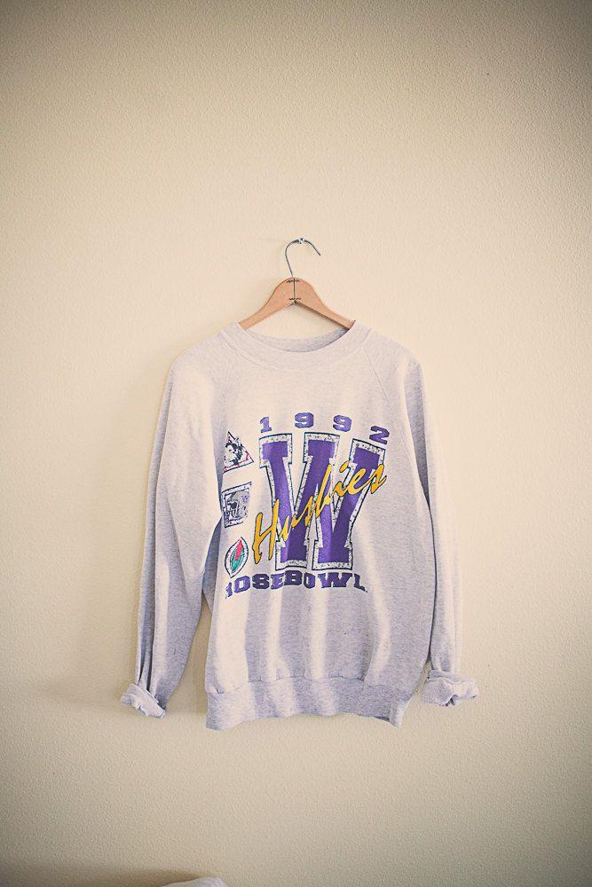 90's  Rosebowl College Sweatshirt Univeristy of Washington Huskies UW Purple Haze  Sweatshirt Oversized Slouchy Comfy 1992 by 7CitiesVintage on Etsy
